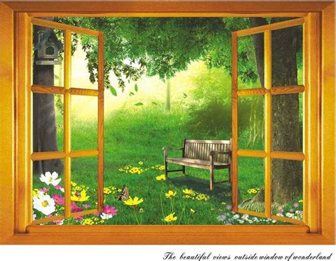 3d beautiful garden views outside window wall sticker