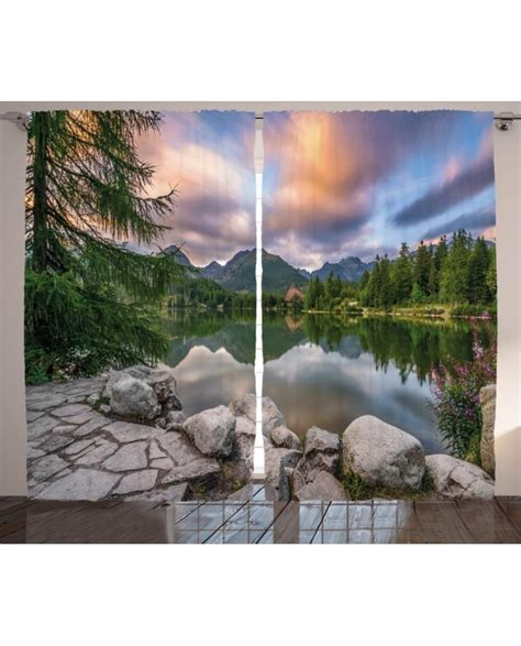 nature curtains nature curtain lake by forest mountain print 2 panel
