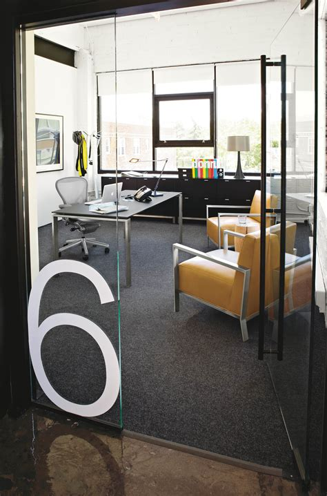 office layout names graphics on the glass walls numbered offices easier to