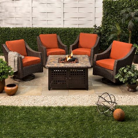 firepit set belvedere 5 wicker motion pit set target
