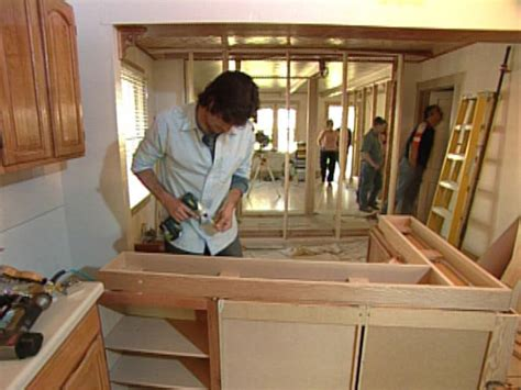 how to install kitchen island cabinets how to building a kitchen island with cabinets hgtv