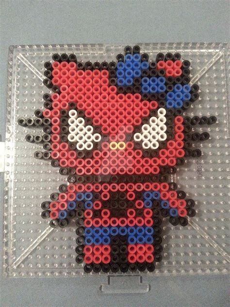 spiderman bead pattern hello kitty spider man perler figure by ashmoondesigns on