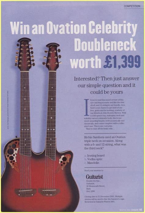Celebrity Giveaways - 2001 ovation celebrity doubleneck giveaway uk ad