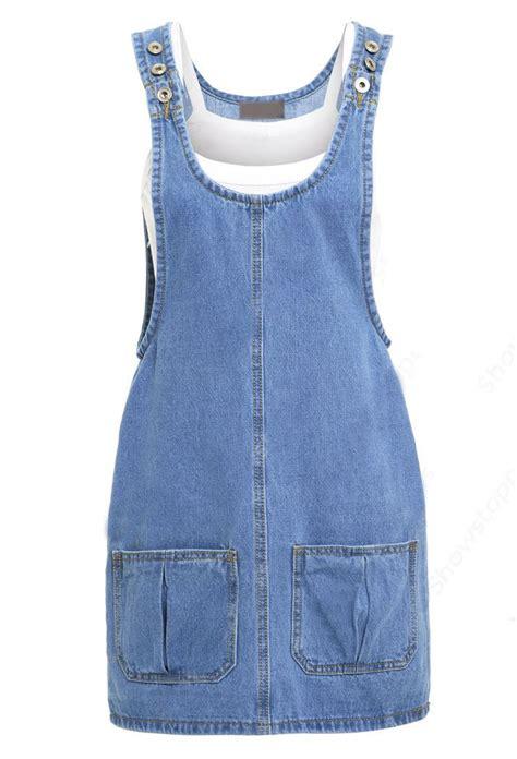 womens blue denim sleeveless dungaree jean pinafore skirt
