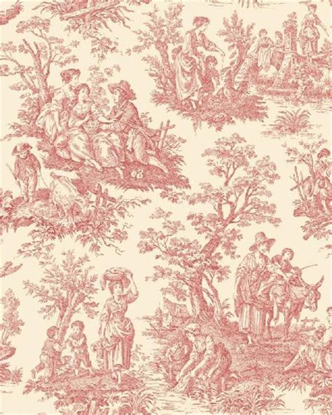 classic toile wallpaper wa7829 waverly classics red and white country life