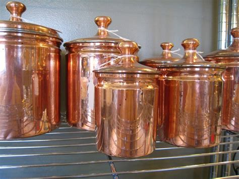 Vintage Kitchen Copper Canister Set Of 6 By Vintagekitchenshop | vintage kitchen copper canister set of 6 raised knobs