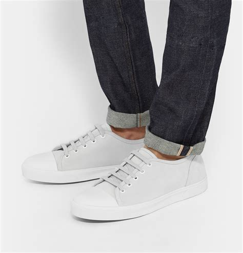 apc sneakers a p c cap toe suede sneakers in white for lyst