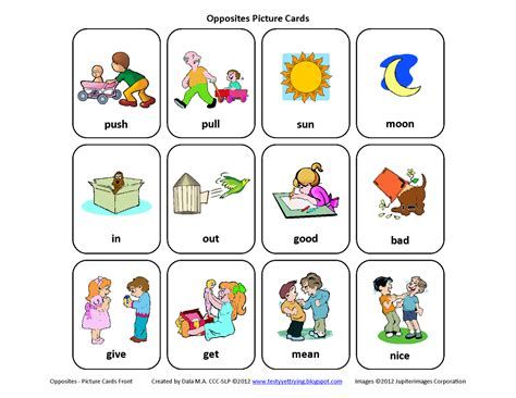 printable opposite cards for preschool testy yet trying free mini set of opposites picture cards