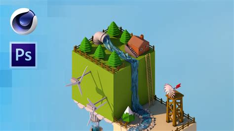 simple voxel floating island blender 3d youtube isometric low poly world wallpapers youtube