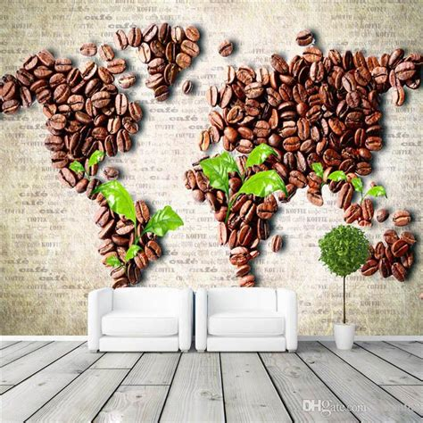 coffee shop design wallpapers coffee beans map wall mural unique design photo wallpaper