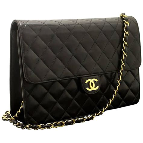 Chanel Quilted Lambskin Clutch Bag by Chanel Chain Shoulder Bag Clutch Black Quilted Flap