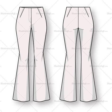 Women S Bootcut Trouser Pant Fashion Flat Template Illustrator Stuff Technical Flat Template