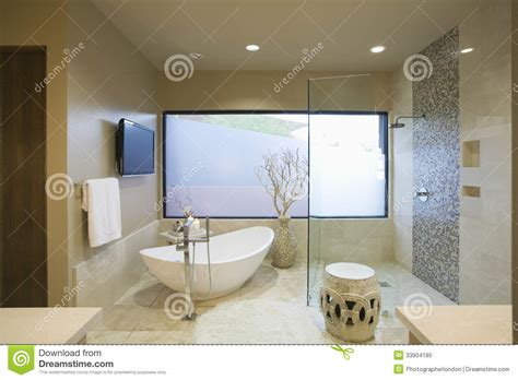 bathroom bath video modern bathroom with freestanding bath royalty free stock photo image 33904185