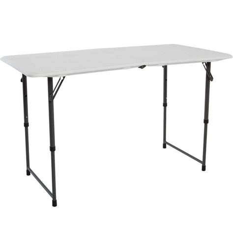 lifetime white adjustable folding table 80218 the home depot
