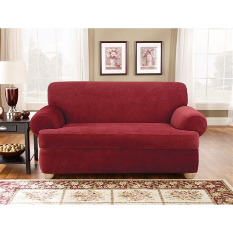 Slipcovers For Sofas With Cushions by Sure Fit Stretch Pique T Cushion Three Sofa