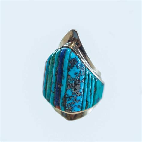 charles loloma inlaid turquoise gold ring at 1stdibs