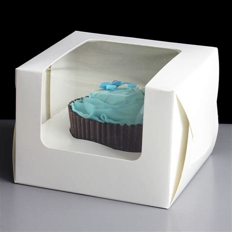 Box Cupcakes white windowed single cupcake cube boxes 25