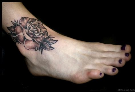 rose on foot tattoo 41good looking tattoos for ankle