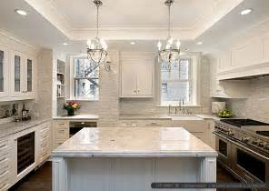 Kitchen Countertop And Backsplash Ideas by White Kitchen With Calacatta Gold Backsplash Tile