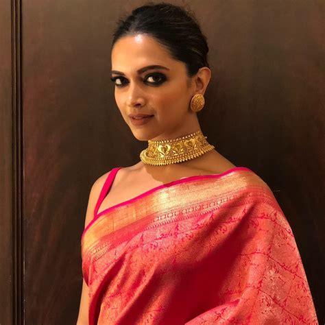 deepika padukone gold saree deepika padukone in a pink kanjeevaram silk saree
