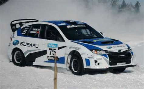 rally subaru snow subaru rally team usa sti front three quarter sliding snow