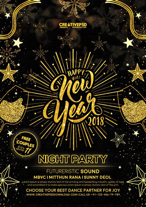 free new year happy new year flyer free psd creativepsddownload