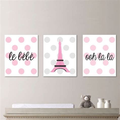 Parisian Nursery Decor Nursery Nursery Decor Parisian Baby Print Eiffel Tower Pink Gray
