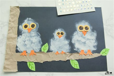 Tippytoe Crafts Paint Snowy Owls - pom pom sted snowy owl painting a dab of glue will do
