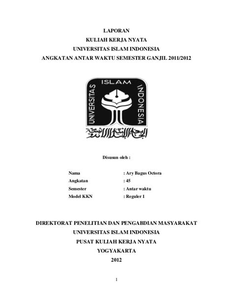 format skripsi universitas indonesia laporan akhir kkn samigaluh kulonprogo unit 157 uii tahun 2012