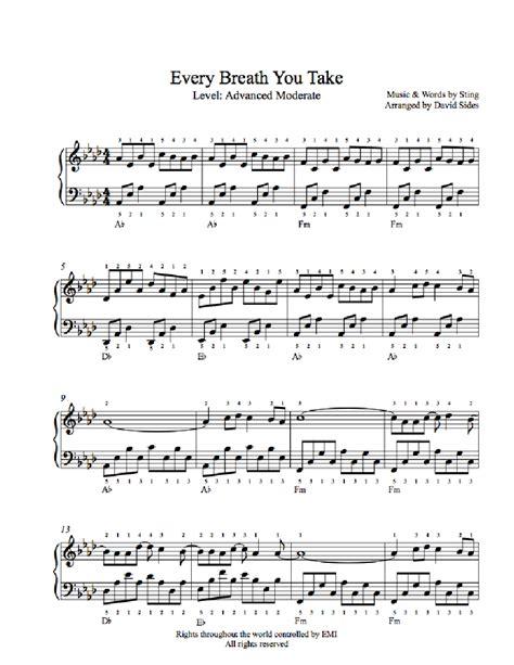take breath away testo every breath you take by the piano sheet