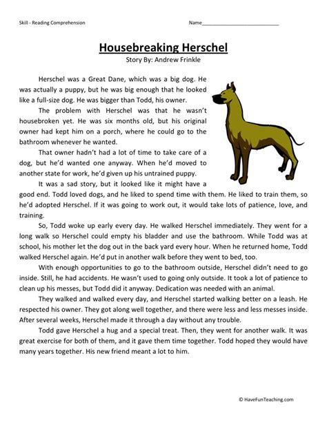 4th Grade Reading Worksheets by Reading Comprehension Worksheet Housebreaking Herschel