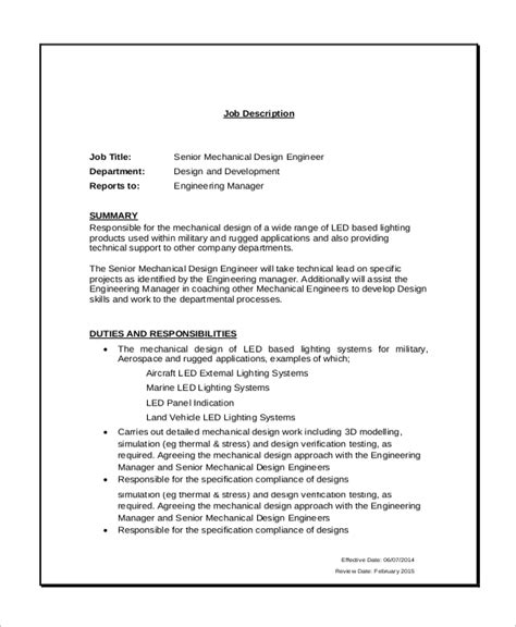 design engineer job description pdf sle mechanical engineering job description 10