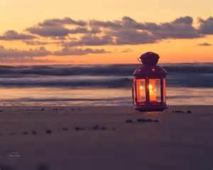 Shabby Chic Lantern by Beach Photography Nautical Home Decor Sunrise Lantern Candle