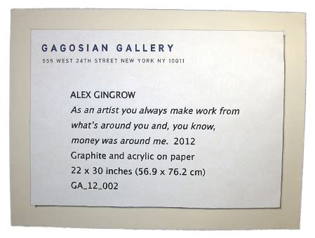 Searching For The Light Alex Gingrow All The Money Is In The Label Mike Weiss Gallery Gallery Labels Template