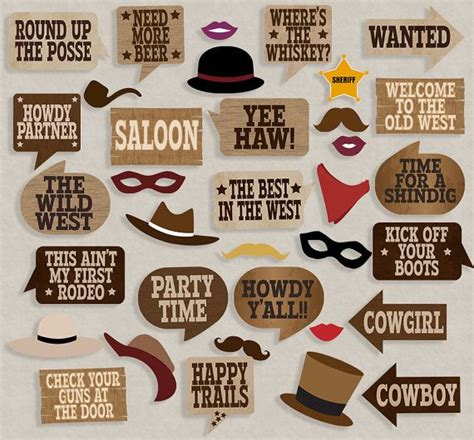 printable cowboy party decorations cowboy party props diy photo booth printables 19 x