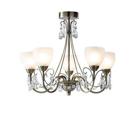 Compact 5 Light Semi Flush Ceiling Chandelier For Low Ceilings Chandelier Lights