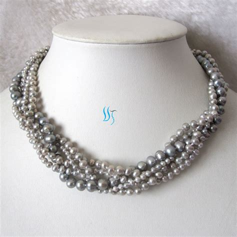 gray pearl necklace wedding pearl necklace 18 by pearlsstory