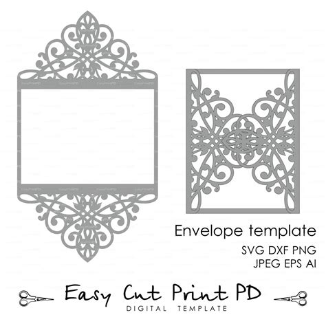Wedding Invitation Pattern Card Template Lace Folds Studio V3 Svg Dxf Ai Eps Png Pdf Card Cut Out Template
