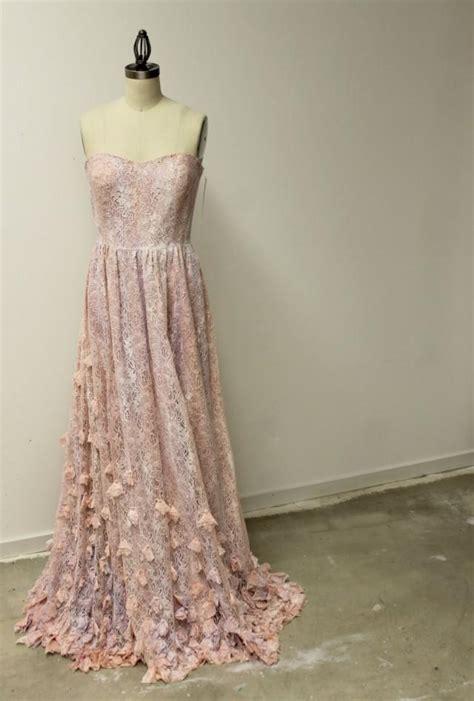 Boho Pink boho princess wedding dress pink lace bohemian bridal sweetheart gathered waist beautiful