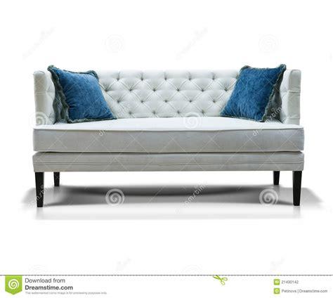 blue and white sofa white sofa with two blue pillows stock photo image 21430142