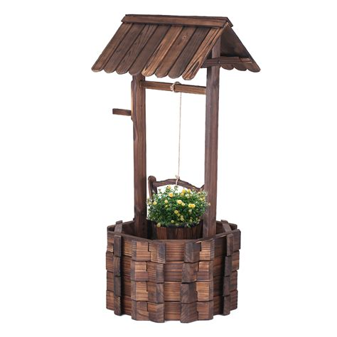 wood ikayaa wooden wishing well patio garden planter