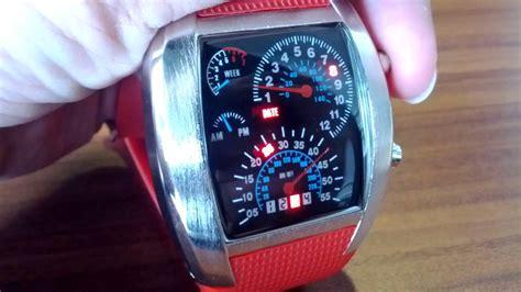 Jam Tangan Led Original Tvg Speedometer Rpm Turbo Warna Silver Black Dengan Led Biru image gallery speedometer watches