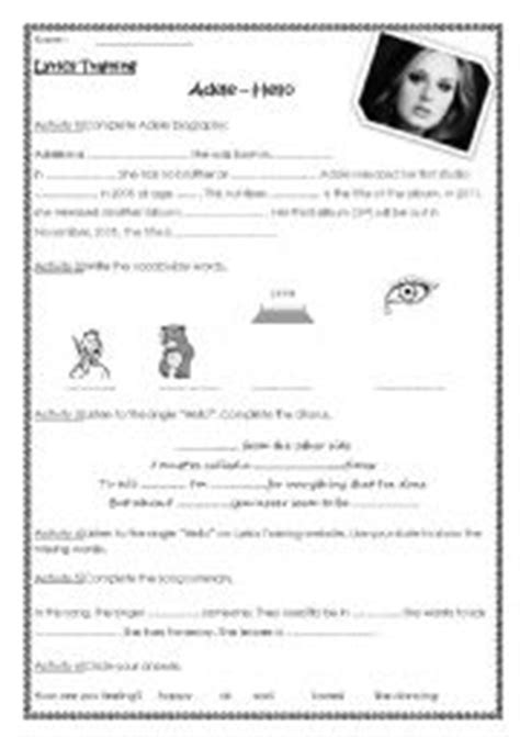 printable lyrics hello adele english worksheets adele hello lyrics training