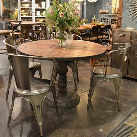 eclectic dining tables french soda fountain round table 47 quot industrial dining