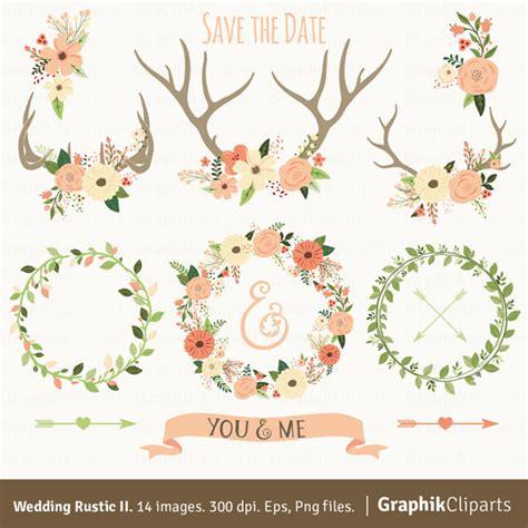 wedding clip ideas rustic wedding clipart ii floral antlers floral wreaths