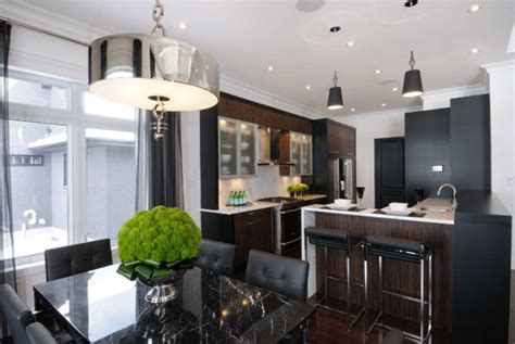 kitchen dining room combo black leather dining chairs design ideas
