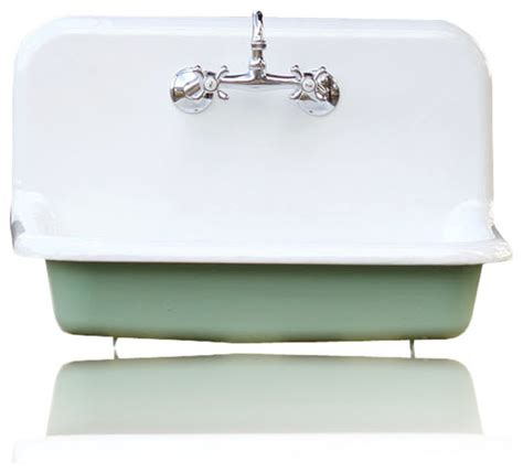 Farmhouse Porcelain Kitchen Sink 30 Quot High Back Farm Sink Cast Iron Porcelain Kitchen Sink Package Arsenic Green Farmhouse