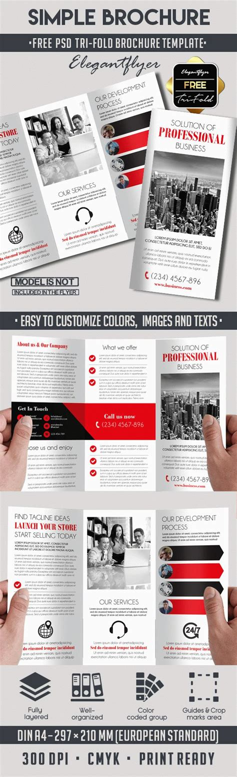 simple tri fold brochure template simple free tri fold psd brochure template by elegantflyer