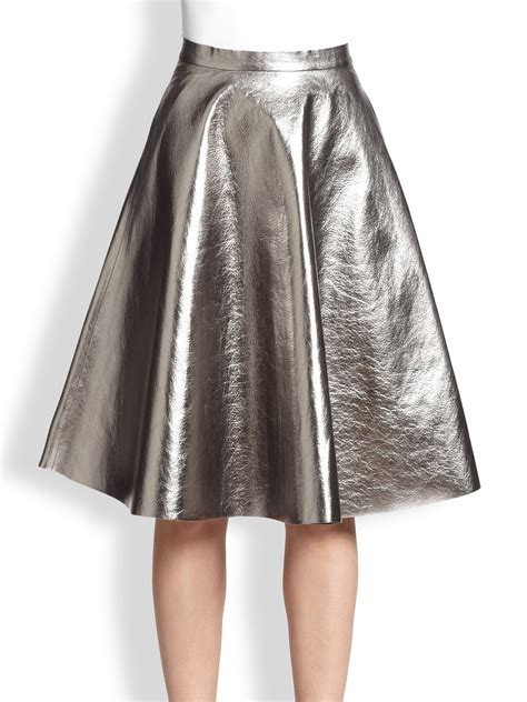 msgm metallic faux leather a line skirt in metallic lyst