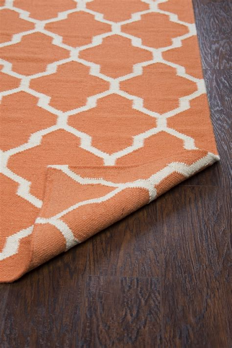 Quatrefoil Runner Rug Swing Quatrefoil Trellis Wool Runner Rug In Orange White 2 6 Quot X 8